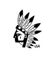 american indian chief hand drawn retro design vector image vector image