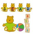 Baby Teddy with wooden block vector image