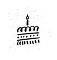 birthday cake hand drawn vector image vector image