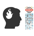 Brain Fire Icon With 2017 Year Bonus Symbols vector image vector image