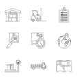Cargo packing icons set outline style vector image vector image