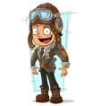 Cartoon cool pilot in retro helmet vector image vector image