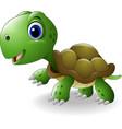 cartoon happy turtle vector image