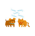 cat meowing and dog barking cute angry domestic vector image