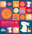 chinese mid autumn festival icons in flat style vector image vector image