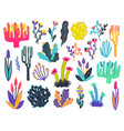 colorful set of hand drawn stylized floral vector image vector image