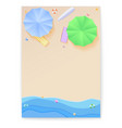 cover design with summer beach in style of cut out vector image vector image
