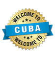 Cuba 3d gold badge with blue ribbon vector image vector image
