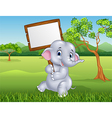 Cute elephant holding blank sign in the jungle vector image vector image
