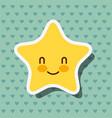 cute kawaii star smile hearts background vector image