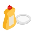 Detergent and plate isometric 3d icon vector image vector image