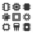 electronic computer cpu chip icons set vector image vector image