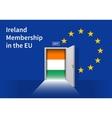 European Union flag wall with Ireland flag door vector image