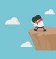 eyes closed businessman out for cliff vector image