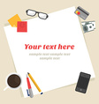Flat design modern Top view of desk backgro vector image