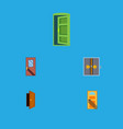 flat icon door set of entry lobby frame and vector image