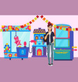 girl in game room banner vector image vector image