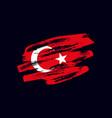 grunge textured turkish flag vector image vector image
