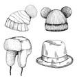 headwear doodle cartoon style set different vector image