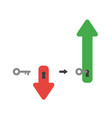 icon concept of arrow with key into keyhole and vector image