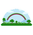 landscape of a park with a rainbow vector image vector image