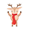 little deer isolated on white reindeer greeting vector image vector image