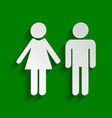 male and female sign paper whitish icon vector image