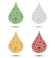 many different color water drops creating big drop vector image vector image