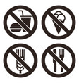 no food and drink prohibited signs vector image vector image
