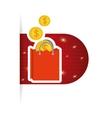online buy bag gift money coins vector image vector image
