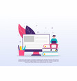 online learning concept with tiny people can use vector image