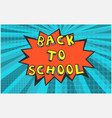 red back to school bubble on blue background vector image vector image