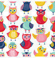seamless pattern with cute funny owls or owlets vector image