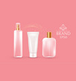 set fo transparent cosmetic and cream bottles vector image