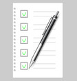 sheet of notebook paper and pen on gray background vector image vector image