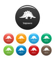 stegosaurus icons set color vector image vector image