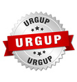Urgup round silver badge with red ribbon vector image vector image