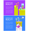 virtual reality text on posters vector image vector image