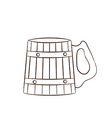 Wooden mug with beer vector image
