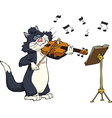 cat playing the violin vector image