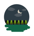 forest tree natural theme scene night landscape vector image