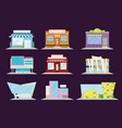 shop and restaurant facade set shopping mall and vector image