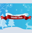 winter sale background with red realistic ribbon vector image