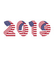2019 numbers 3d american flag new year vector image