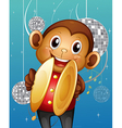 A monkey with cymbals in a disco house vector image