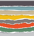 a set torn pieces paper in many colors used vector image vector image