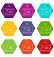 badge office icons set 9 vector image vector image