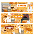 bakery shop cakes baker patisserie pastry menu vector image vector image