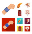 basketball and attributes cartoonflat icons in vector image