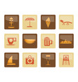beach and holiday icons over brown background vector image